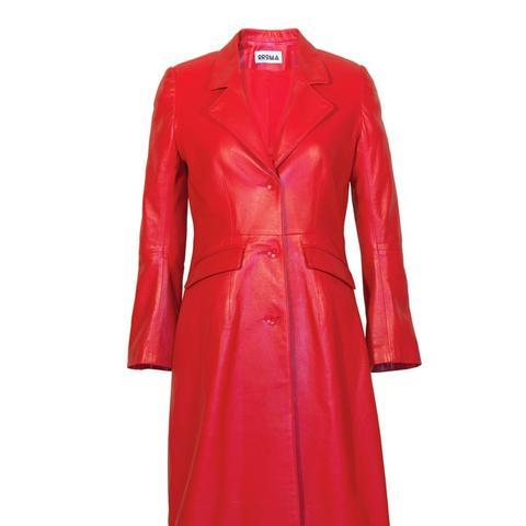 Red Lambskin Leather Coat