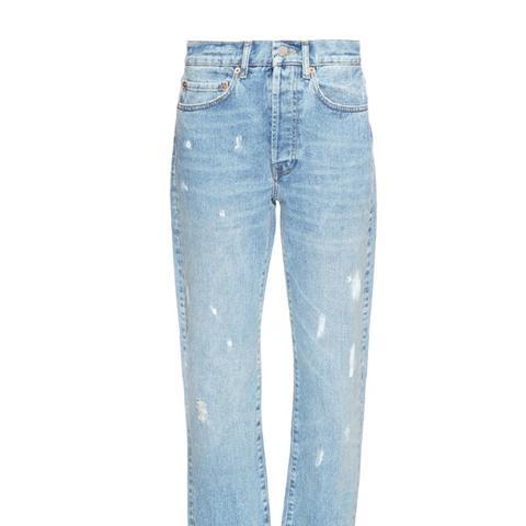 Raw-Hem Boyfriend Jeans