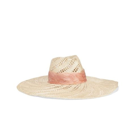 Cassidy Feather-Trimmed Woven Straw Hat