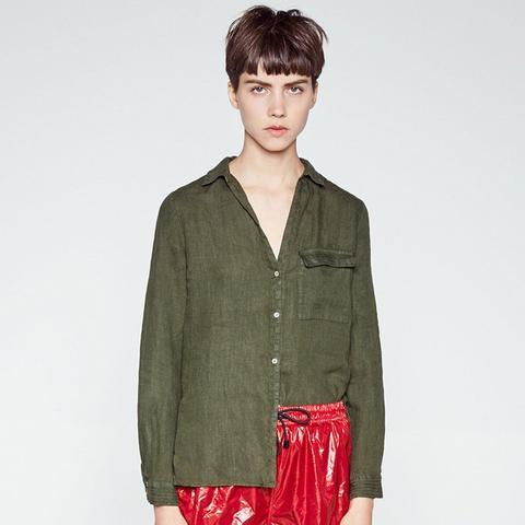 Linen Shirt With Topstitched Yoke