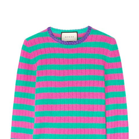 Metallic-Trimmed Striped Cashmere And Wool-Blend Sweater