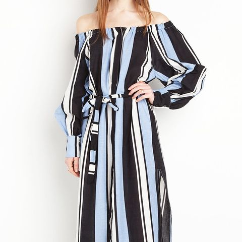 Capri Striped Off the Shoulder Midi Dress