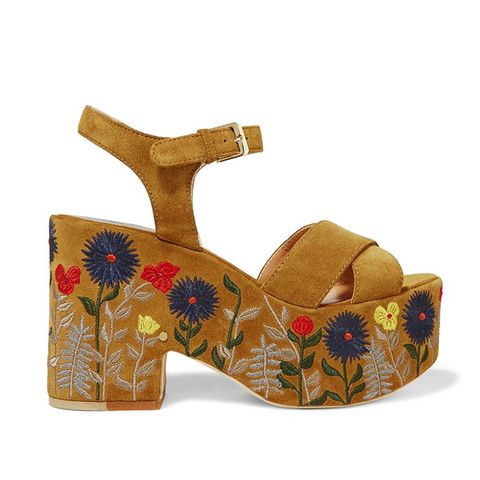 Helissa Embroidered Suede Sandals