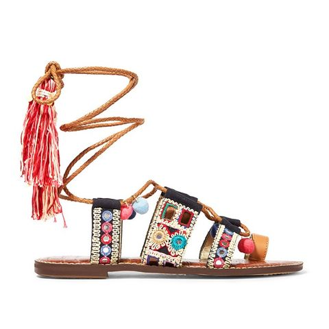 Embroidered Canvas Leather Sandals