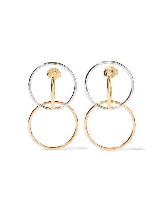 Charlotte Chesnais Galilea Gold-Plated and Silver Hoop Earrings