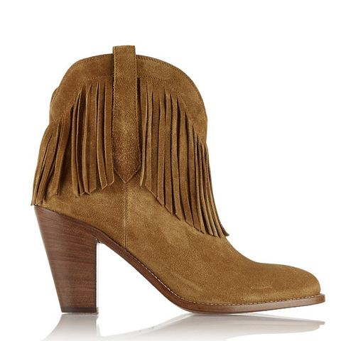 New Western Fringed Suede Ankle Boots