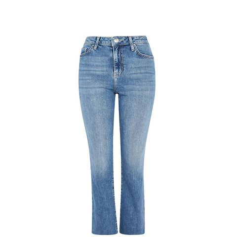 Moto Light Blue Dree Cropped Kick Flare Jeans