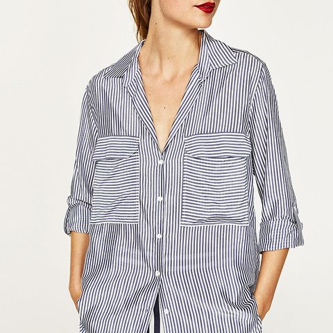 Striped Blouse With Pocket