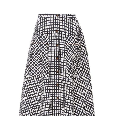 Cotton Printed Button Front Leah Skirt