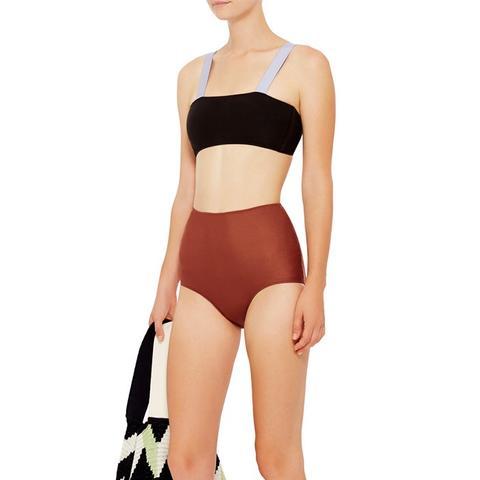 Bandeau Top and High Waisted Bottoms Bikini Set