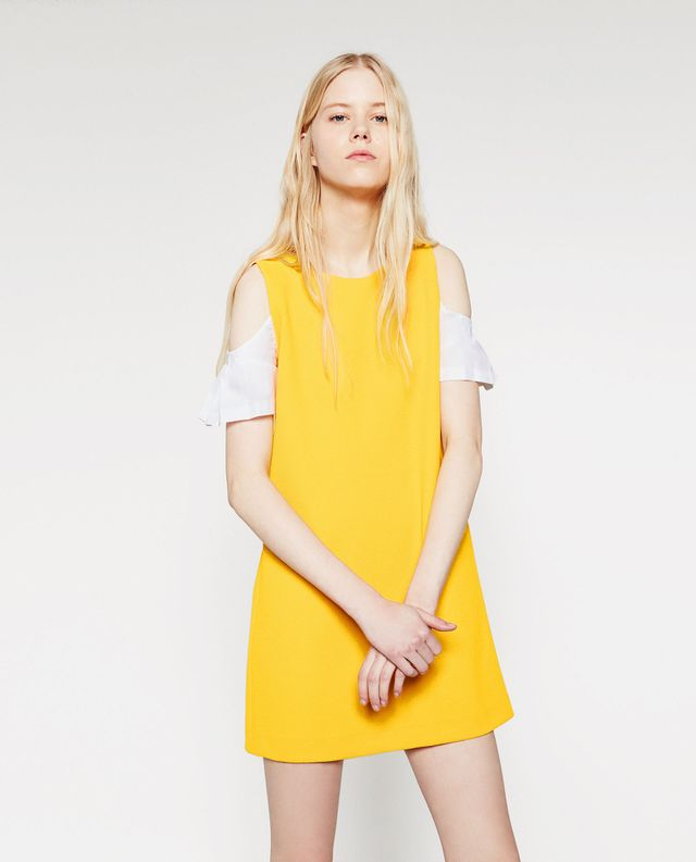 Zara Dress With Contrast Sleeves