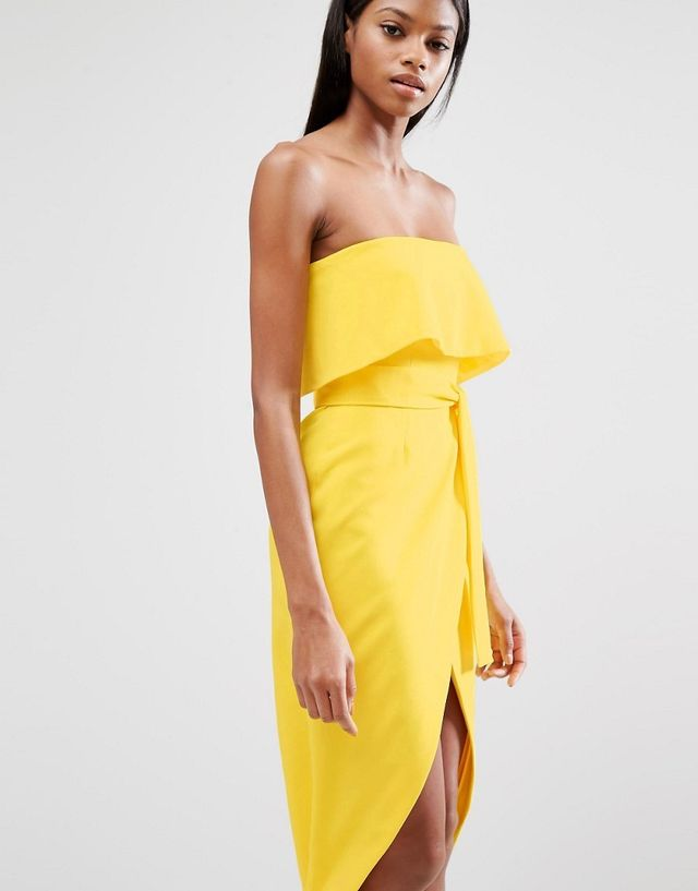 ASOS Lavish Alice Bandeau Cropped Tie Front Midi Dress