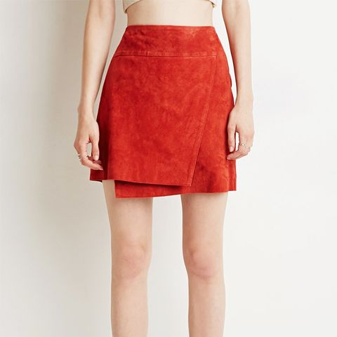 Contemporary Genuine Suede Origami Skirt