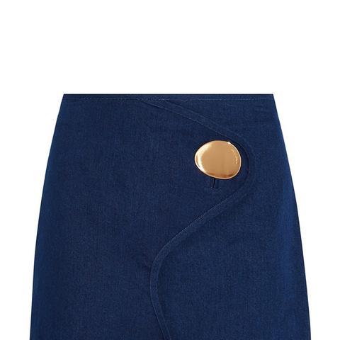 Embellished Wrap-Effect Denim Mini Skirt