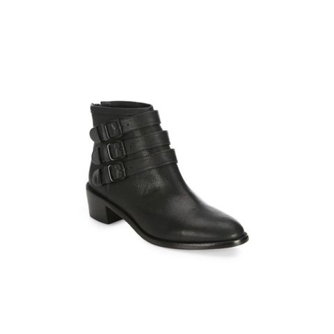 Fenton Buckled Leather Ankle Boots