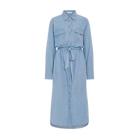 Delany Denim Shirt Dress With Waist Tie
