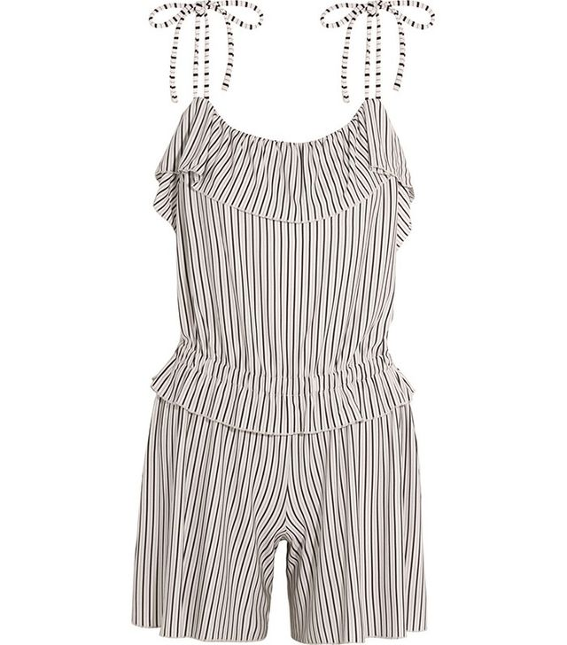 See by Chloe Ruffled Striped Jersey Playsuit