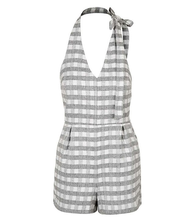 Topshop Gingham Neck Tie Playsuit