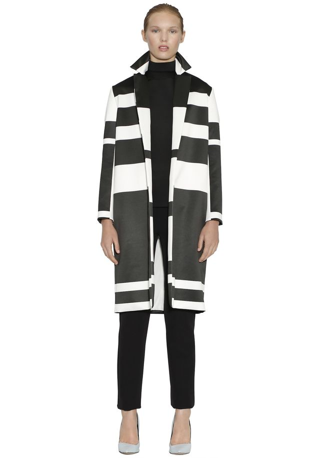 By Johnny Inverted Stripe Sateen Coat