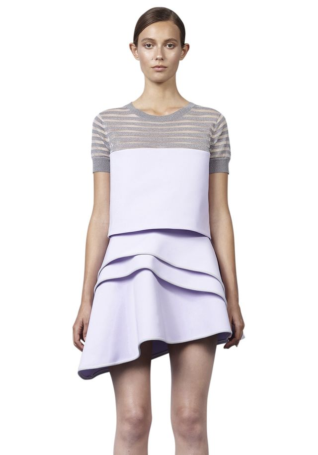 By Johnny Lilac Ruffle Mini Skirt
