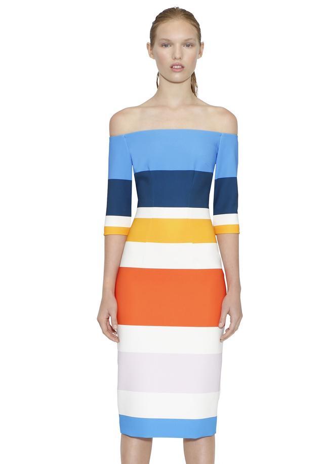 By Johnny Bermuda Stripe Cut Off Dress