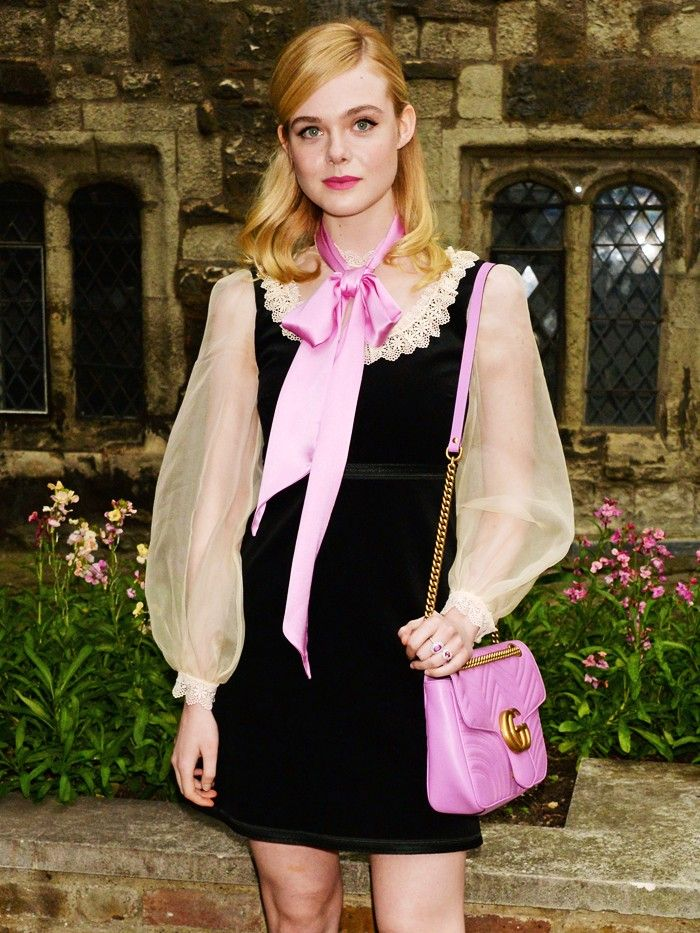 best designer bags 2016: Elle Fanning with her Gucci Marmont bag