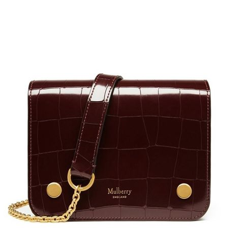 Burgundy Polished Embossed Croc Clifton Bag