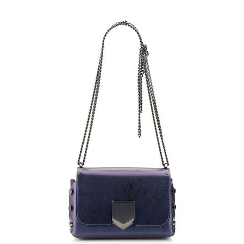 Navy Etched Spazzolato Leather Shoulder Bag
