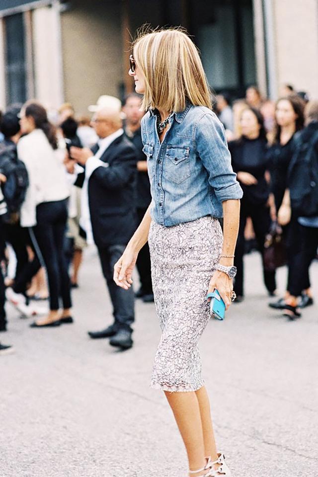 Chambray Shirt + Pencil Skirt