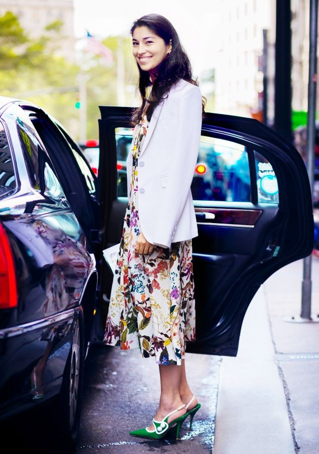 Blazer + Printed Dress