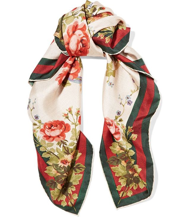 Gucci for Net-a-Porter Adonis Floral-Print Silk-Twill Scarf