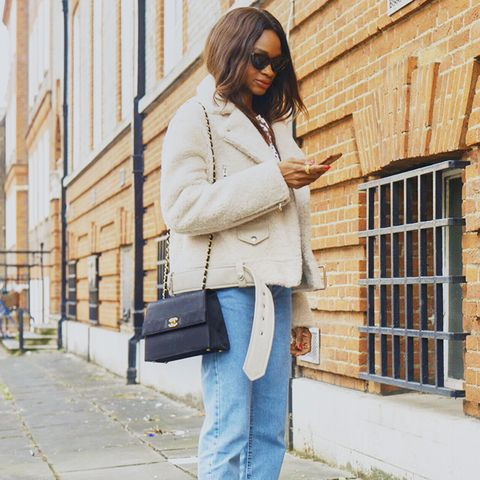 weekend outfit ideas: shearling coat + frayed jeans + black slingbacks