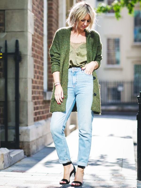 Weekend Outfit Ideas: cosy cardigan + boyfriend jeans + sandals
