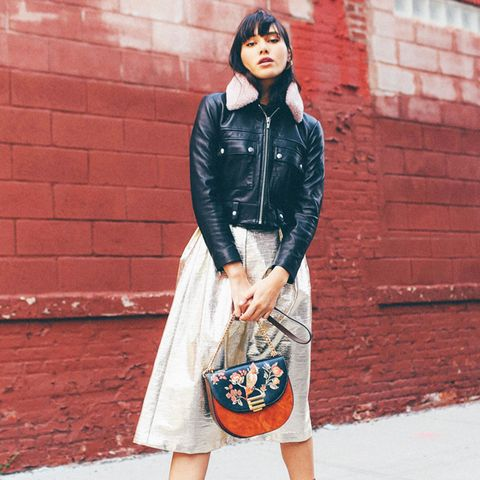 weekend outfit ideas: biker jacket + skirt + socks + platform shoes