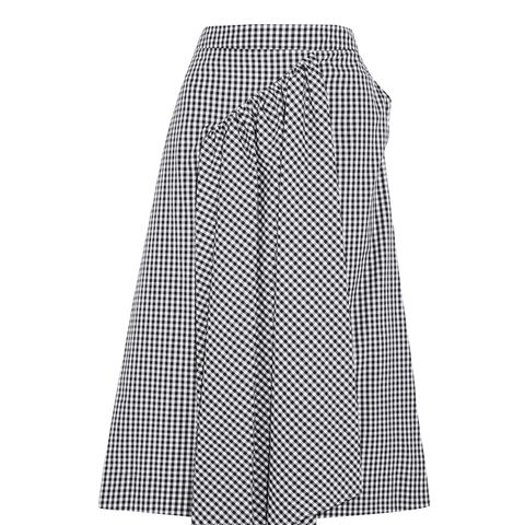 Asymmetric Gathered Gingham Cotton-Poplin Midi Skirt