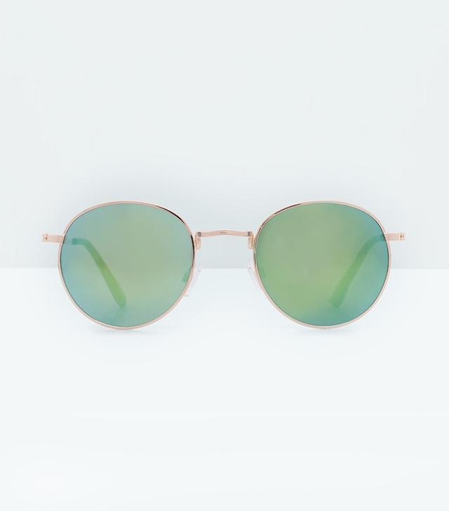 Mango Round Mirrored Sunglasses