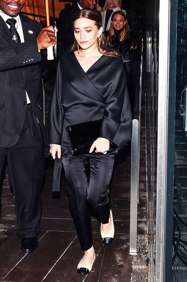 On Ashley Olsen: The Row clothing; Chanel flats.