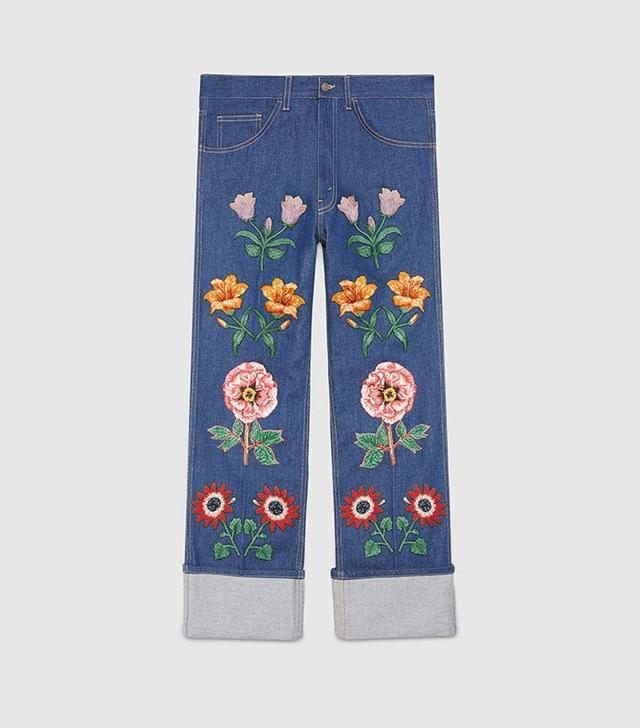 Gucci Men's Jean With Flower Appliqués