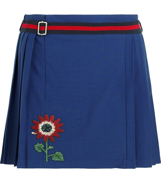Gucci for Net-a-Porter Floral-Appliquéd Wool-Blend Mini Skirt