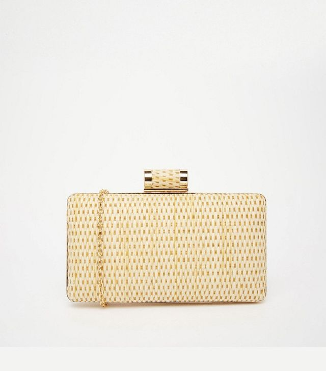 Vintage Styler Woven Straw Box Clutch Bag