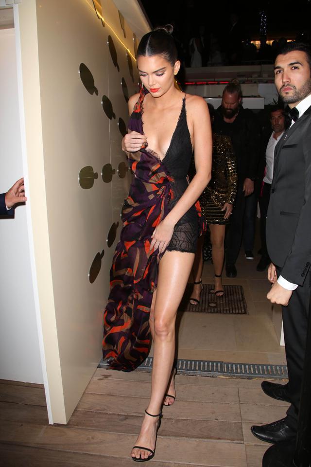 On Kendall Jenner: Versacedress, Stuart Weitzman Nudist Heels($770).
