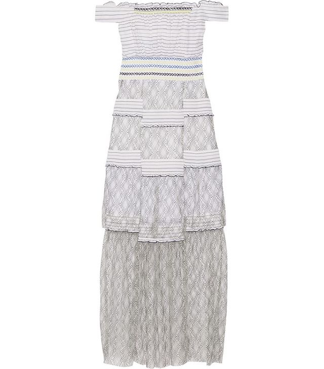 Peter Pilotto Gaze Off-the-Shoulder Poplin and Lace Maxi Dress