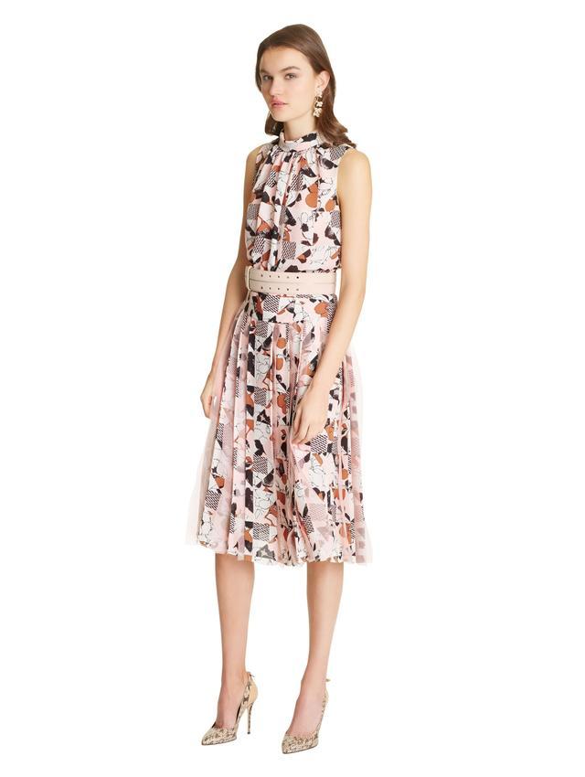 Oscar de la Renta Poppies A-Line Skirt With Organza Pleats
