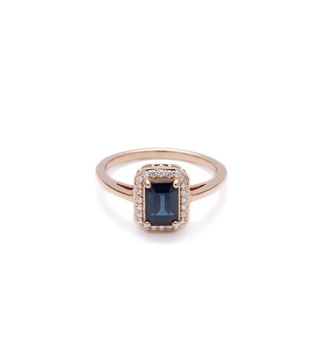 Anna Sheffield Elongated Rosette Ring in Blue Sapphire