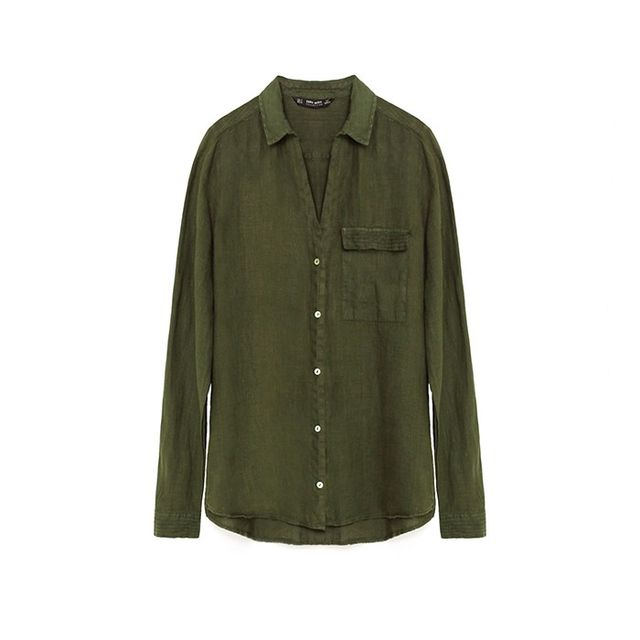 Zara Linen Shirt With Topstitched Yoke