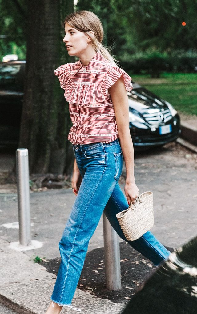 1. Ruffle Top + Cropped Jeans