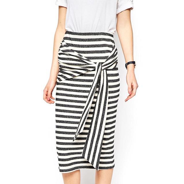 ASOS Tie Knot Stripe Pencil Skirt