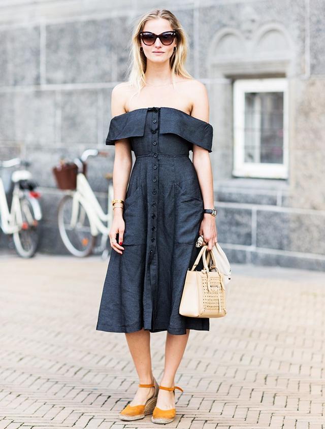7. Off-the-Shoulder Dress + Espadrilles