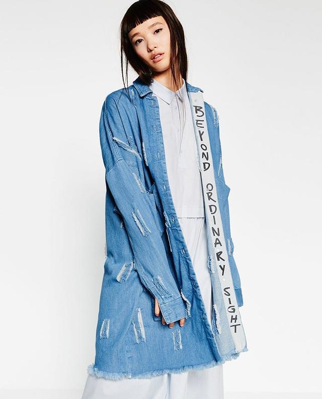 Zara Ripped Denim Duster Coat