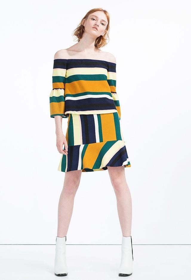 Zara Striped Mini Skirt